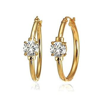 Rose Gold Flashed Sterling Silver Genuine Created or Simulated Gemstone Solitaire 25mm Hoop Earrings