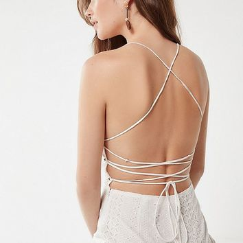 ASTR The Label Leighton Strappy Eyelet Jumpsuit | Urban Outfitters