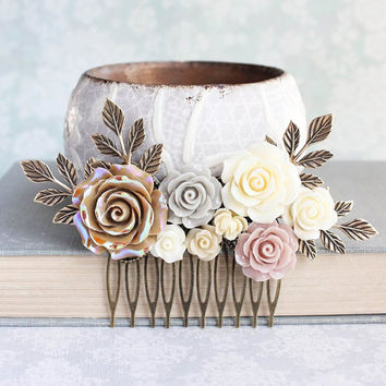 Floral Bridal Hair Comb Nude Neutrals Comb Ivory Cream Rose Blush Ecru Tan Bridal Hair Piece Vintage Inspired Romantic Wedding Branch Comb