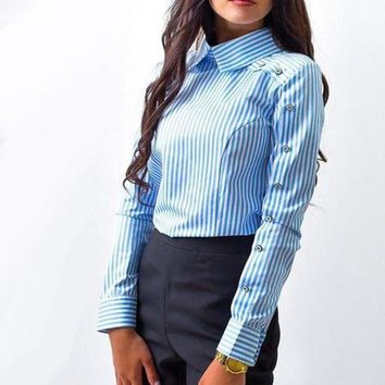 CREYLD1 2018 New Spring Fashion Women Striped Button Casual Blouses Long Sleeve Turn Down Collar Shirts Female Vintage Workwear Tops