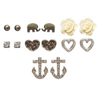 Elephant Love Button Earring Set | Wet Seal