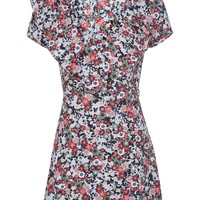 Sky Floral Frill Wrap Tea Dress - Dresses - Clothing