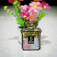 New Fashion Sequins Perfume Bottle Patches Embroidered Iron on Patch for Clothing Garment Applique DIY Accessory Free Shipping