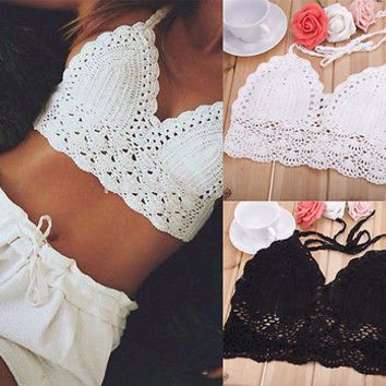 Beautiful Knit Crochet Crop Tank Top