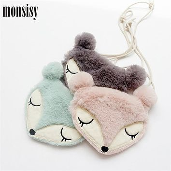 Monsisy Faux Fur Fox Girl Coin Purse Children's Wallet Small Change Purse Kid Bag Coin Pouch Money Holder Animal Kid Handbag