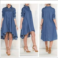 Blue Denim Long Sleeve Button Down High-Low Dress