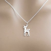 Sterling silver, Bambi, Deer, Necklace, Lovers, Best friends, Mom, Sister, Gift, Accessory, Jewelry