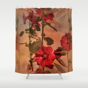 Mid-Summer Hollyhocks Shower Curtain by Theresa Campbell D'August Art