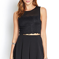 FOREVER 21 Lace & Mesh Crop Top