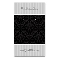 Custom Earring Cards Gray Black Damask Stripes