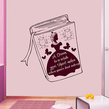 Girls Wall Decal Cinderella Quotes Sticker Girl Nursery Kids Room Decor DS399