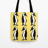 Penguins Pattern Yellow Tote Bag by Artist Abigail