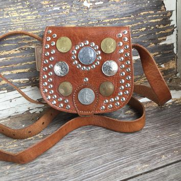 Small Leather Crossbody with Coins