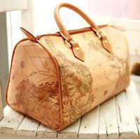 Vintage World Map Print Travelling Tote Leather Handbag