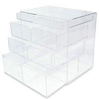 """Ikee Design® Acrylic Cosmetics Lipsticks Makeup Organizer Holder Box with 4 Removable Drawers , 10""""W x 7""""D x 9 1/4""""H. MADE IN TAIWAN"""