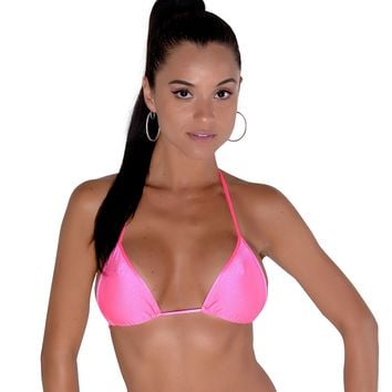 Neon Pink Full Curtain Triangle Bikini Top