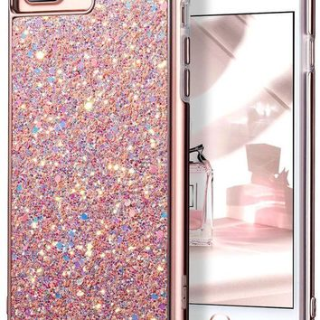 LMFMS6 iPhone 7 Plus Case,iPhone 6 Plus Case,ESR Glitter Sparkle Dual Layer Shockproof Hard PC Back[Support Wireless Charging]+TPU Inner Shell for 5.5' iPhone 7 Plus/6 Plus(Rose Gold)