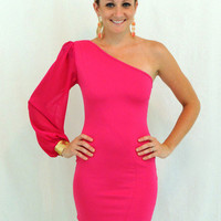 Hot Pink One shoulder Dress with gold cuff - $49.00 | Daily Chic Dresses | International Shipping