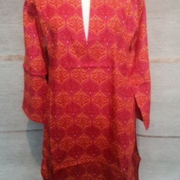 Cotton Tunic Top in Red with Orange Damask