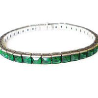 Emerald Sterling Bracelet Channel Set Green Glass Stone Art Deco Antique Jewelry