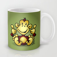 Manic Monkey with 4 thumbs up Mug by Cardvibes