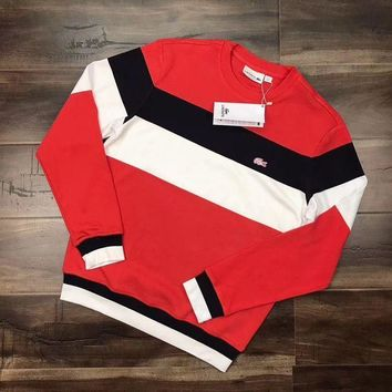 PEAPON Lacoste Woman Men Fashion Stripe Round Neck  Top Sweater Pullover
