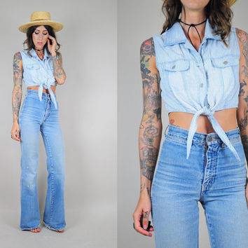 DENIM vtg 90's CROPPED TOP tie front tank pinstriped cotton faded shirt blouse thin & soft