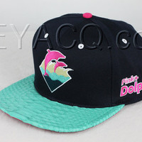 Custom Pink Dolphin Strapback, Teal Python Belly, Pink Lambskin, Gold Buckle