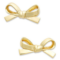 kate spade new york Earrings, 12k Gold-Plated Skinny Mini Bow Stud Earrings - - Macy's