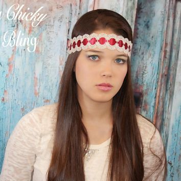 Satin Ribbon and Shimmering Boho Lace Headband