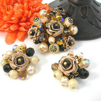 Fall Cluster Brooch & Clip Earrings Set, Vintage 50s, Metal Roses, Faceted Crystals, Faux Pearls, Art Glass, Brown White Black Jewelry