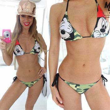 2018 Summer New Sexy Women Mickey Mouse Cartoon Minnie Camouflage Print Bandage Halter Bikini Body Swimsuit