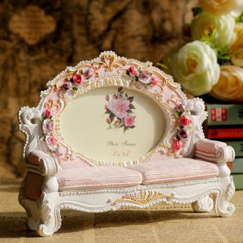 Europe Retro Vintage Pink Flower Sofa  Photo Frame Picture Resin 3.5'' x 5'' Home Wedding Decoration Gifts