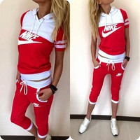 Nike Hooded Sweatshirt Sweater Pants Sweatpants Set Two-Piece Sportswear
