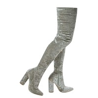 Paw27 By Anne Michelle, OTK Over Knee Shimmering Pull On Velvet High Block Heel Dress Boots