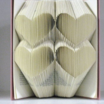 Folded Book Art Sculpture  4 stacked hearts by RecycledReads