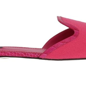 Pink Wool Crocodile Flat Sandals