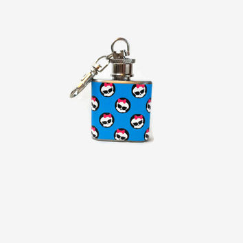 Stainless Steel Hip Flask with pink and blue girly skull wrap - dia de los muertos - 4oz 6oz 2oz 1oz
