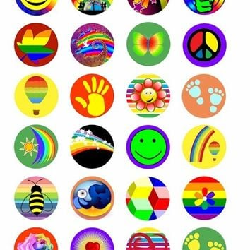 colorful rainbow  hearts stars smiley face foot prints spring summer  COLLAGE 1.5  INCH circles