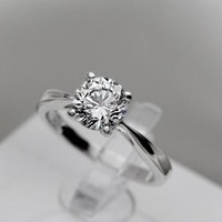 Engagement Ring for Women 925 Sterling Silver Ring New 18k Gold Plated 1.2 Carat 6.5mm Sona Diamond Rings