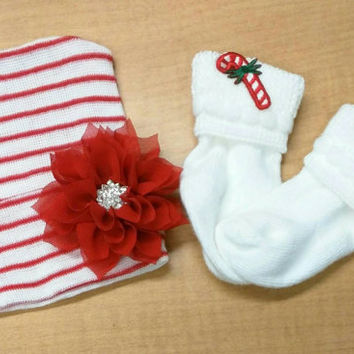 Newborn Hospital Hat. Holiday Hat with Candy Cane Socks! Red/ White Stripe Hat with Poinsettia flower with Rhinestone. Baby's 1st Keepsake.