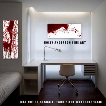 FREE SHIPPING - Dexter Inspired Custom Bloodstain Pattern Paintings Abstract Blood Spatter Set by Holly Anderson Art