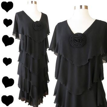 Vintage 80s Dress // Black Chiffon Tiered Dress S M Full Length Tiers Dress Rosette LBD Cocktail Party