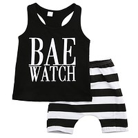 Summer baby boys girls letter Pattern clothes sets t-shirts and stripes shorts Casual outfits infant clothing newborn