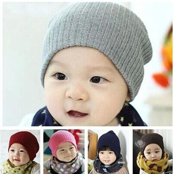 HQ 2016 New Children Hat Candy Color Thread Baby Hat Winter Beanie Hat Beanies for Girls & Boys Crochet Caps YLL505