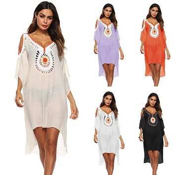 Beach Cover Up Summer 2018 Tunic For The Beach Colorful Hook Flower Irregular Sexy Swimwear Pareo Bathing Suit Women Cover Ups