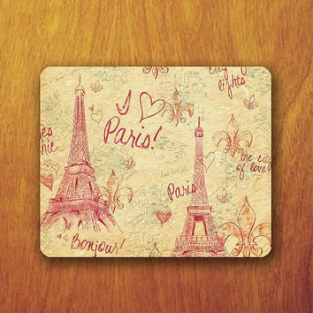 Paris Drawing Mouse Pad Vintage Old Parchment Wallpaper Office Deco Desk Word Pad Personalized Pad Gift Personalized mat