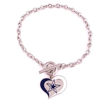 Dallas Cowboys  Football team Logo Swirl Heart charm Wedding Toggle charm OT Bracelet