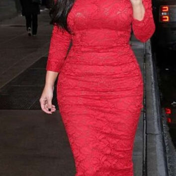 Red Long Sleeve Bodycon Lace Dress