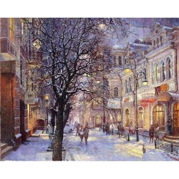 ArtSailing diy painting by numbers Winter Night Street View Modular wall art picture by numbers on canvas for the hall NP-217